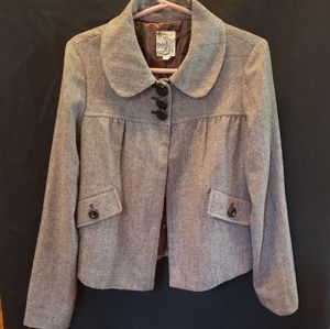 Tulle cropped wool blend suit jacket Sz Lg